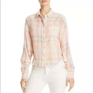 Free People Long Sleeve Crop Plaid Button Down Top